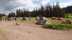 People camped at rainbow family gathering in heber utah 2014 Stock Footage