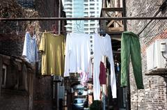 Hanging washing in an old Shanghai neighbourhood Stock Photos
