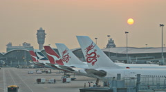 Sunset TL over Hong Kong airport 4K Stock Footage