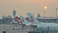 Stock Video Footage of Sunset TL over Hong Kong airport 4K