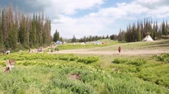 Hippies camped at the rainbow family gathering in heber utah 2014 Stock Footage