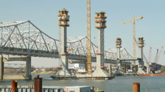 4K Louisville Downtown Bridge Construction 2 Stock Footage