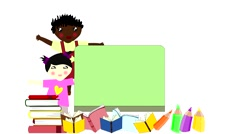 Children of different races near a school board, come back to school Stock Footage