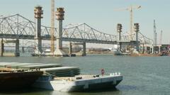 4K Louisville Downtown Bridge Construction 3 Stock Footage