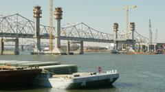 Louisville Downtown Bridge Construction 3 Stock Footage