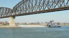 Towboat Passes Big Four Bridge 1 Stock Footage