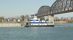 4K Towboat Passes Big Four Bridge 2 Stock Footage