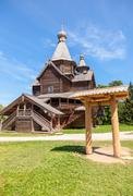 Old wooden orthodox church in the museum of wooden architecture vitoslavlitsy Stock Photos