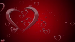 Shining Valentines Love Heart Shapes Stock Footage