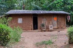 House in an african village, outdoor shot, cameroon Stock Photos