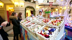 Traditional New Year's holiday fair of decorations and gifts. Stock Footage
