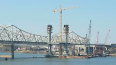 4K Louisville Downtown Bridge Construction 4 Stock Footage