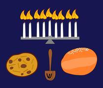 Candle holder with burning candles, potato pancake, donut and dreidel Stock Illustration