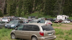 Cars parked at the rainbow gathering in utah 2014 Stock Footage