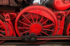 steam locomotive detail, outdoor shot - stock photo
