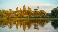 Angkor wat temple from across the moat in cambodia Stock Footage