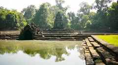 Ancient historical religious monument in siem reap, cambodia Stock Footage