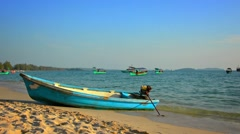 Boats anchored in the bay at sihanoukville, cambodia Stock Footage