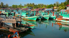 Fishing boats in the harbor at sihanoukville Stock Footage