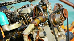 Large boat engine exposed in the tropical sun Stock Footage