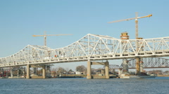 Louisville Downtown Bridge Construction 7 Stock Footage