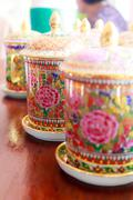 Coffee cups with antique thai pattern Stock Photos