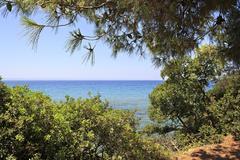 Visible horizon of the Aegean Sea. - stock photo