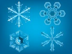 Stock Illustration of realistic snowflakes winter set