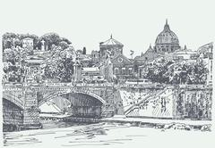 Original sketch drawing of Rome Italy cityscape Stock Illustration