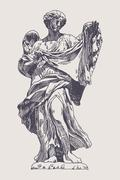 Ink drawing marble statue of angel Stock Illustration