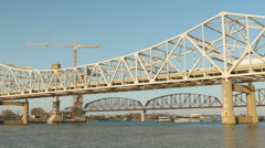 4K Louisville Downtown Bridge Construction and Existing Bridges 4 Stock Footage