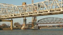 Louisville Downtown Bridge Construction and Existing Bridges 5 Stock Footage