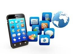 Smartphone with cloud of application icons Stock Illustration