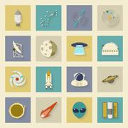 Astronautics and space flat icons set with shadows Stock Illustration