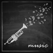 vintage illustration with trumpet on blackboard background. music illustration - stock illustration