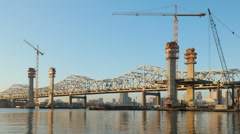 Louisville Downtown Bridge Construction From Jeffersonville 1 Stock Footage