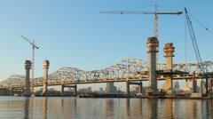 Louisville Downtown Bridge Construction From Jeffersonville 1 Stock Footage