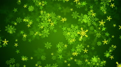 Green Christmas Snow Flakes Stock Footage