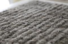 close-up of central air condition system filter with dust - stock photo