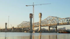 Louisville Downtown Bridge Construction From Jeffersonville 3 Stock Footage