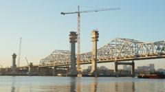 Louisville Downtown Bridge Construction From Jeffersonville 3 Stock Footage
