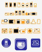 Home electronics - set of vector icons (buttons) Stock Illustration