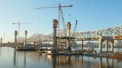 Louisville Downtown Bridge Construction From Jeffersonville 4 Stock Footage