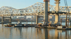 Louisville Downtown Bridge Construction From Jeffersonville 6 - stock footage