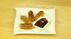 Cutlets with cranberry sauce Stock Footage