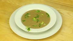 Cream soup with leeks Stock Footage