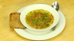 Vegetarian soup with vegetable broth Stock Footage
