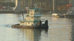 Walsh Construction Towboat Katherine O'Hara 3 Stock Footage