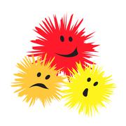 three cheerful monsters - stock illustration