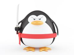 fat ninja penguin - stock illustration